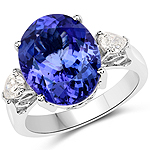 9.04 Carat Genuine Tanzanite and White Diamond 18K White Gold Ring