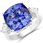 10.66 Carat Genuine Tanzanite and White Diamond 18K White Gold Ring