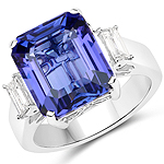 10.21 Carat Genuine Tanzanite and White Diamond 18K White Gold Ring