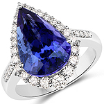 8.92 Carat Genuine Tanzanite and White Diamond 18K White Gold Ring
