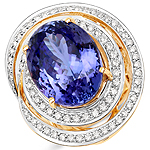 23.33 Carat Genuine Tanzanite and White Diamond 18K Yellow Gold Ring