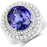 10.79 Carat Genuine Tanzanite and White Diamond 18K White Gold Ring