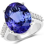 11.62 Carat Genuine Tanzanite and White Diamond 18K White Gold Ring