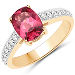 2.27 Carat Genuine Rubellite and White Diamond 14K Yellow Gold Ring
