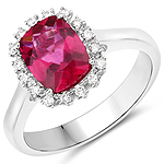 2.10 Carat Genuine Rubellite and White Diamond 14K White Gold Ring