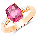 2.08 Carat Genuine Rubellite and White Diamond 14K Yellow Gold Ring