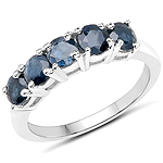 1.35 Carat Genuine Blue Sapphire .925 Sterling Silver Ring