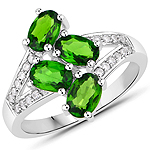 1.86 Carat Genuine Chrome Diopside and White Zircon .925 Sterling Silver Ring