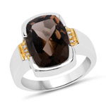 Two Tone Plated 5.51 Carat Genuine Smoky Quartz and White Topaz .925 Sterling Silver Ring