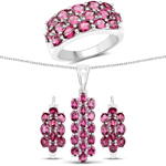"""10.92 Carat Genuine Rhodolite .925 Sterling Silver 3 Piece Jewelry Set (Ring, Earrings, and Pendant w/ Chain)"""