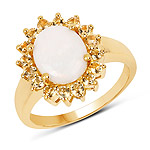 14K Yellow Gold Plated 2.60 Carat Genuine Opal and Citrine .925 Sterling Silver Ring