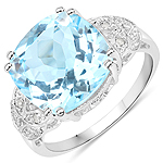 6.97 Carat Genuine Blue Topaz and White Diamond .925 Sterling Silver Ring