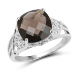 3.14 Carat Genuine Smoky Quartz and White Topaz .925 Sterling Silver Ring