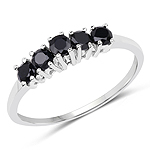 0.70 Carat Genuine Black Sapphire .925 Sterling Silver Ring