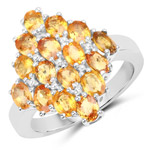 3.52 Carat Genuine Orange Sapphire .925 Sterling Silver Ring