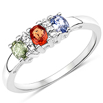 0.61 Carat Genuine Multi Sapphire .925 Sterling Silver Ring