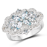 0.93 Carat Genuine Aquamarine & White Topaz .925 Sterling Silver Ring