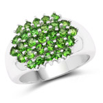 1.93 Carat Genuine Chrome Diopside .925 Sterling Silver Ring