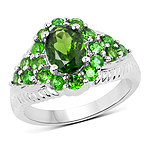 2.28 Carat Genuine Chrome Diopside .925 Sterling Silver Ring