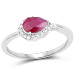 0.92 Carat Genuine Ruby and White Diamond 10K White Gold Ring