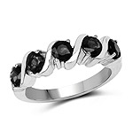 1.65 Carat Genuine Black Sapphire .925 Sterling Silver Ring