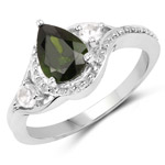 1.30 Carat Genuine Chrome Diopside and White Topaz .925 Sterling Silver Ring