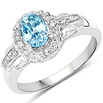 1.48 Carat Genuine Blue Zircon and White Diamond.925 Sterling Silver Ring
