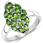 1.31 Carat Genuine Chrome Diopside .925 Sterling Silver Ring