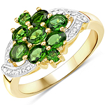 14K Yellow Gold Plated 1.26 Carat Genuine Chrome Diopside .925 Sterling Silver Ring