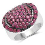 3.35 Carat Genuine Ruby .925 Sterling Silver Ring