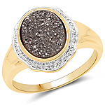 14K Yellow Gold Plated 4.50 Carat Genuine Drusy Quartz .925 Sterling Silver Ring