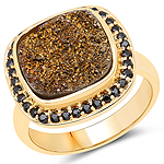 14K Yellow Gold Plated 6.19 Carat Genuine Drusy Quartz and Black Spinel .925 Sterling Silver Ring