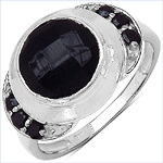 2.64 Carat Genuine Black Onyx & Black Spinel .925 Sterling Silver Ring