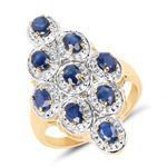 14K Yellow Gold Plated 1.98 Carat Genuine Blue Sapphire .925 Sterling Silver Ring