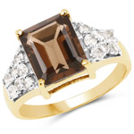 14K Yellow Gold Plated 3.61 Carat Genuine Smoky Quartz and White Topaz .925 Sterling Silver Ring