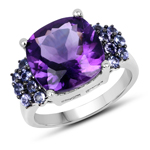6.34 Carat Genuine Amethyst and Tanzanite .925 Sterling Silver Ring