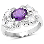 2.75 Carat Genuine Amethyst and White Zircon .925 Sterling Silver Ring