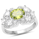 2.70 Carat Genuine Peridot and White Zircon .925 Sterling Silver Ring