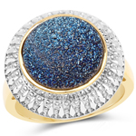 14K Yellow Gold Plated 4.90 Carat Genuine Cobalt Blue Drusy .925 Sterling Silver Ring