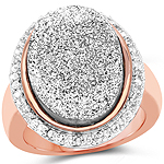 14K Rose Gold Plated 9.09 Carat Genuine Drusy & White Topaz .925 Sterling Silver Ring