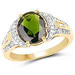 18K Yellow Gold Plated 2.79 Carat Genuine Chrome Diopside & White Topaz .925 Sterling Silver Ring