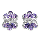 8.52 Carat Genuine Amethyst & White Topaz .925 Sterling Silver Earrings