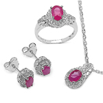 3.38 Carat Glass Filled Ruby and White Topaz .925 Sterling Silver set