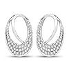 0.64 Carat Genuine White Diamond 14K White Gold Earrings (E-F-G Color, SI Clarity)