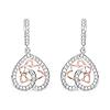 0.71 Carat Genuine White Diamond 14K White & Rose Gold Earrings (E-F Color, SI Clarity)