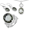 27.00 Carat Genuine Amethyst .925 Sterling Silver Ring, Pendant and Earrings Set