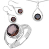 9.70 Carat Genuine Smoky Quartz .925 Sterling Silver Ring, Pendant and Earrings Set