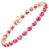 12.43 Carat Genuine Ruby and White Diamond 14K Yellow Gold Bracelet