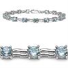 6.30 Carat Genuine Blue Topaz .925 Streling Silver Bracelet