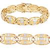 14K Yellow Gold Plated 0.96 Carat Genuine White Diamond .925 Sterling Silver Bracelet